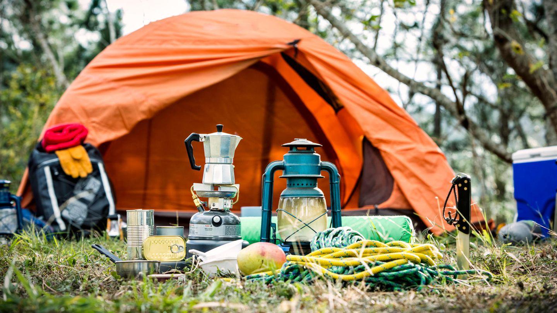 Camping telt utstyr skog